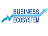 Business ecosystem with blue arrow