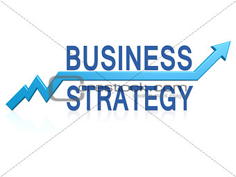 Business strategy with blue arrow