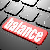 Keyboard with balance text