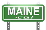 Maine green sign board isolated