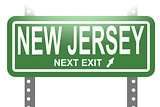 New Jersey green sign board isolated