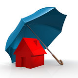 Red house under blue umbrella