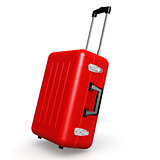 Red luggage in angle position