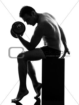 mature man exercising body building silhouette