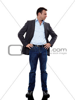 business man standing mocking silhouette