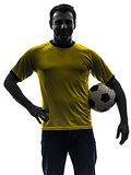 man holding soccer football silhouette