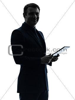 business man  digital tablet  posing portrait silhouette