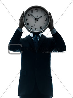 business man holding clock silhouette