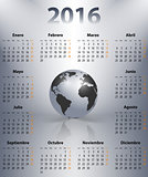 Calendar for 2016 year in Spanish with the world globe