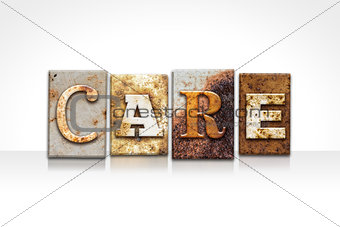 Care Letterpress Concept Isolated on White
