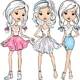 Vector set fashion cute happy girls