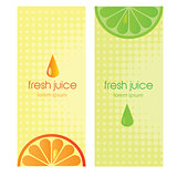 Banners with stylized citrus fruit and splashes