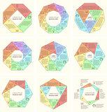 Set of polygonal infographic diagram