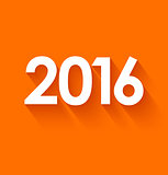 New year 2016 in flat style on orange background