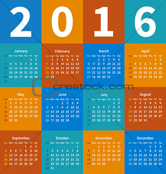 Calendar 2016 year in flat color