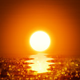 Illustration ocean sunset