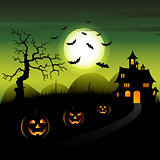Halloween night green backdrop with castle and pumpkins