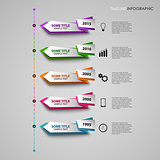 Time line info graphic with colored folded design pointers template
