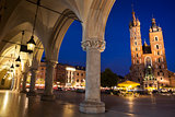 Krakow main square night view