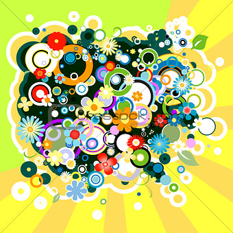 abstract colorful background with flowers and circles