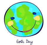 earth planet celebration day, childlike painting