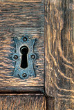 Keyhole with metal plate in a wooden door