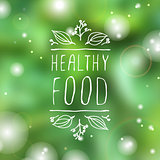 Healthy food - product label on blurred background