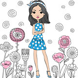 Vector fashion cute happy girl