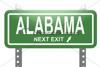 Alabama green sign board isolated