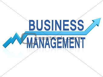 Business management with blue arrow