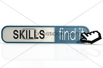 Skills word on the blue find it banner