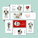 Couple in love kissing, cards for your design