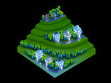 isometric city buildings, landscape, Road and river, night scen