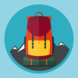 Backpack with mountains flat style vector illustration icon