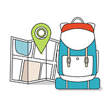 Travel Map with backpack.  Line Icons, Tourist, Sightseeing, Journey, Inspiration and Concept