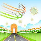 Airplane making Indian tricolor flag around India Gate