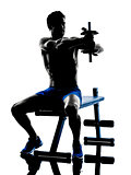 man exercising fitness weights Bench Press exercises silhouette