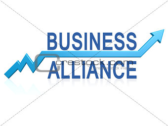 Business alliance with blue arrow