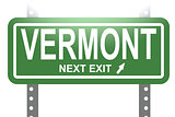 Vermont green sign board isolated