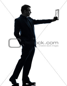 business man  digital tablet  silhouette