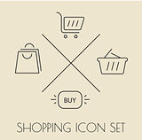 Shopping icons pack. Thin line.