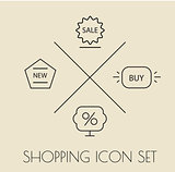 Shopping icons pack. Thin line. Labels.
