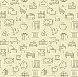 Shopping icons, seamless background pattern.