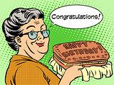Grandma wishes a happy birthday cake