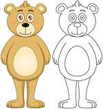 Cute Brown Teddy Bear With Lineart