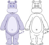 Cute Humanoid Hippo With Lineart