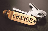 Change Concept. Keys with Golden Keyring.