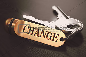 Change Concept. Keys with Golden Keyring.