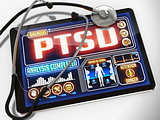 PTSD on the Display of Medical Tablet.