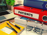 Red Office Folder with Inscription Patients
